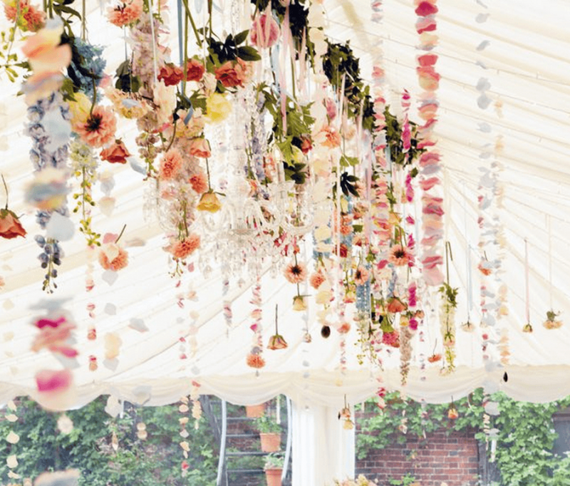 Hanging floral installation